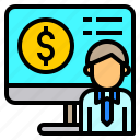 bank, business, finance, investment, money, online, technology icon