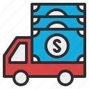 cash, cit, in, money, transit, transportation, truck icon