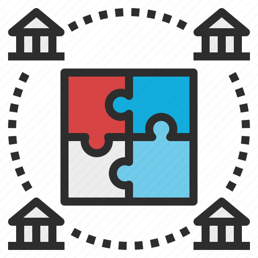 bank, cooperative, jigsaw, service icon