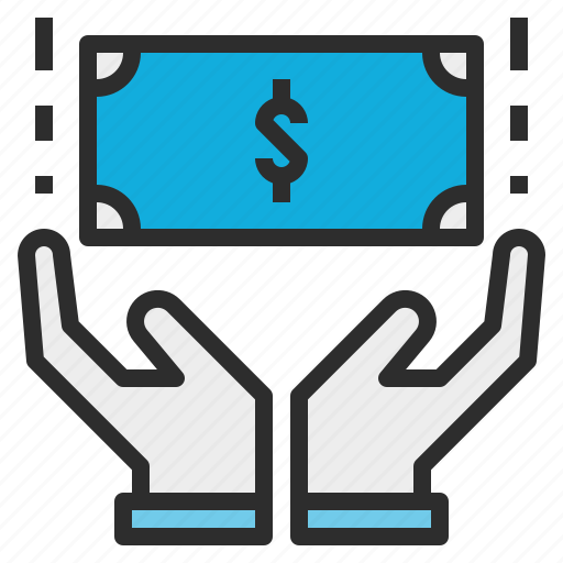 control, hand, management, money, wealth icon