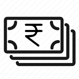 buck, cash, currency, money, notes, quid, rupee icon