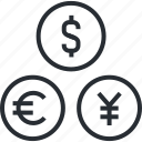 currency, exchange, forex, line, market, money, thin icon