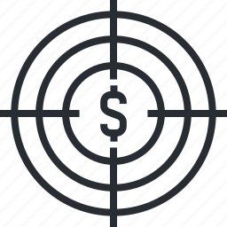banking, capital, finance, money, target, thin line, venture icon