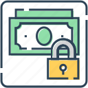 cash, dollar, lock, money, security icon