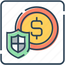 coin, currency, dollar, money, protect, security, shield icon