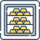 banking, bullion, finance, gold, money, safe, value icon