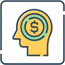 business, cash, dollar, finance, head, mind icon