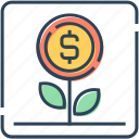 business, coin, dollar, finance, flower, growth, money