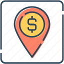 bank location, location, location pin, map, map locator, pin icon