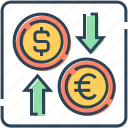 arrow, coin, currency, dollar, euro, exchange, foreign