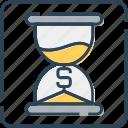 dollar, hourglass, money, sand, tax reminder, timer, waiting