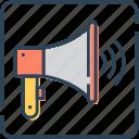 announcement, bullhorn, loudspeaker, megaphone, promotion