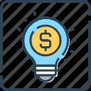 bulb, business, creativity, dollar, idea, innovation, light