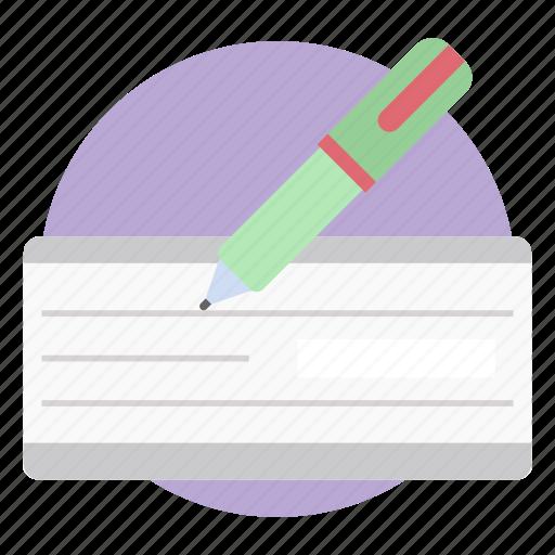 cheque, cheque sign, receipt, voucher, writing bank cheque icon