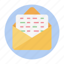 business document, cv, letter, message, open email icon