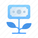 cash, currency, finance, financial, investment, money, plant icon