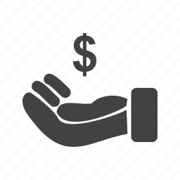 currency, dollar, hand, loan, market, money, wealth icon