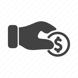 banking, coin, currency, finance, hand, share, transfer icon