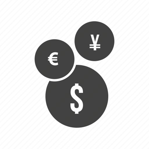 business, currency, dollar, euro, finance, pound, yen icon