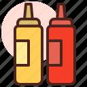 food, grill, ketchup, mustard, restaurant
