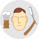 barber, flatstyle, shaving, face, foam, razor, tools