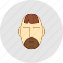 barber, beard, cutting, flatstyle, forelock, shop icon