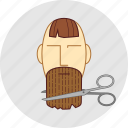 a haircut, barber, beard, cutting, flatstyle, forelock, scissors icon