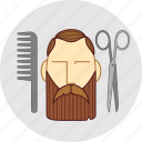 a haircut, barber, beard, cutting, flatstyle, mustache, scissors icon