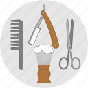 a haircut, barber, flatstyle, shaving, tools, razor, scissors