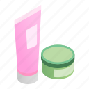 beauty, bottle, care, cosmetic, cream, face, isometric icon