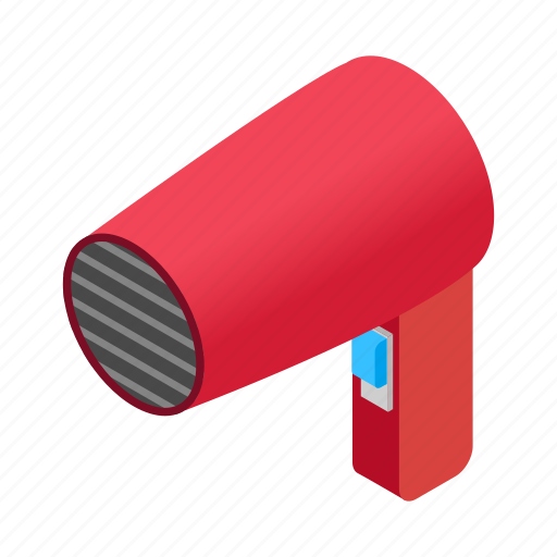 blower, dryer, electric, hairdryer, isometric, stylist, tool icon