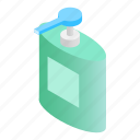 isometric, liquid, wash, pump, dispenser, gel, cream icon