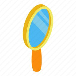 gloss, glossy, isometric, makeup, mirror, portable, view icon