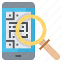 barcode, code, data, label, qr, search, smartphone icon