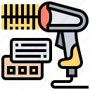barcode, checkout, laser, reader, scanner icon