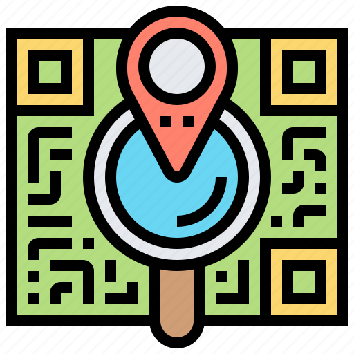 location, map, qr, scan, search icon