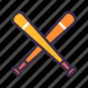 baseball, bat, cross, equipment, game, sport icon