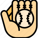 ball, baseball, glove, leather icon