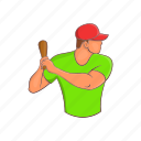 athlete, baseball, baseball bat, male, player, sport, swinging icon