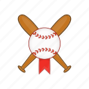 ball, baseball, bat, cartoon, crossed, softball, wooden icon