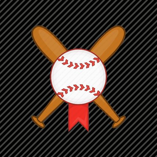 ball, baseball, bat, cartoon, crossed, softball, wooden icon