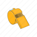 cartoon, closeup, equipment, metal, security, sport, whistle icon