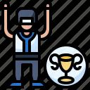 baseball, champion, man, podium, sports, stars, winner icon
