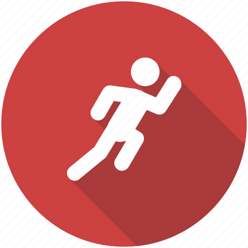 circle, exercise, fitness, orange, run, running, workout icon icon