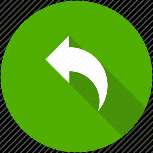 arrow, blue, circle, previous, reply, respond, response icon icon