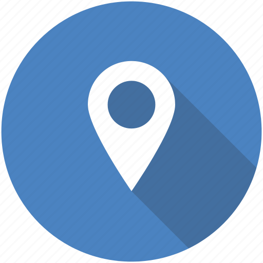 address, blue, circle, location, map, marker, navigation icon icon