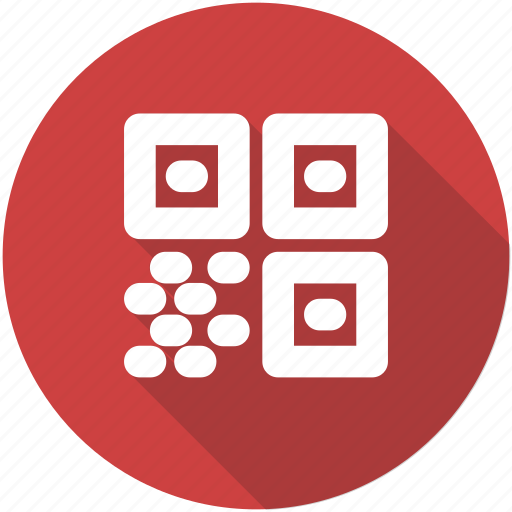 barcode, blue, circle, code, qr, qrcode, quick response icon icon