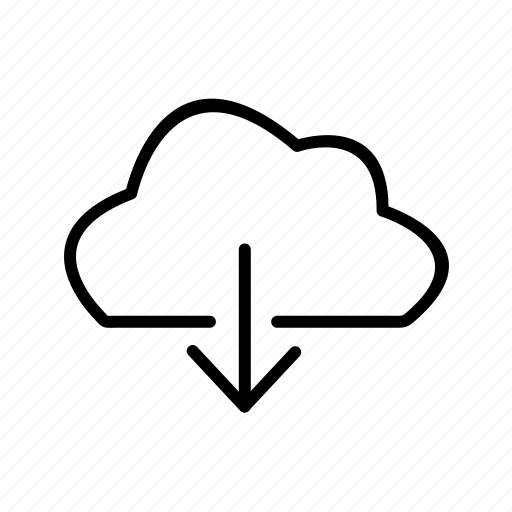 cloud, down, download icon