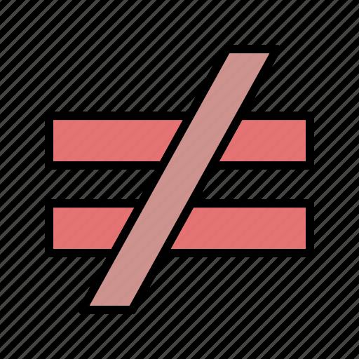 equal, mathematical, not, un icon