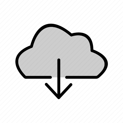 arrow, cloud, down, download, weather icon